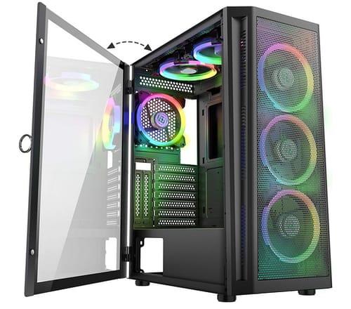MUSETEX 6pcs ARGB Fans  Mesh Mid-ATX Tower PC Case