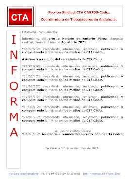 C.T.A. INFORMA CRÉDITO HORARIO ANTONIO PÉREZ, AGOSTO 2021