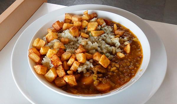 Lentejas con arroz y patatas fritas - Lentejas con costillas y patatas ...