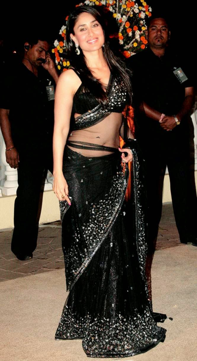 kareena kapoor hot navel hd wallpaper in black transparent saree