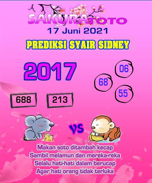 Syair Sakuratoto Sidney Kamis 17 Juni 2021