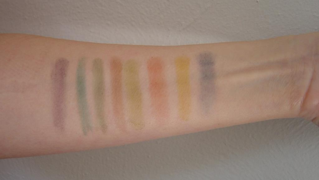 Swatches of Mehron Makeup INtense Eye Shadow Wind Palette.jpeg