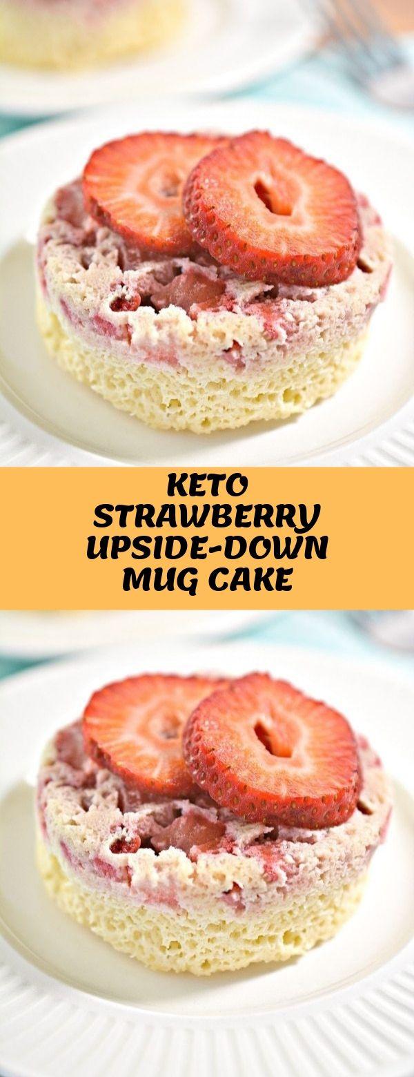 KETO STRAWBERRY UPSIDE-DOWN MUG CAKE #mugcake #keto #lowcarb