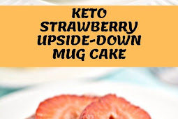 KETO STRAWBERRY UPSIDE-DOWN MUG CAKE