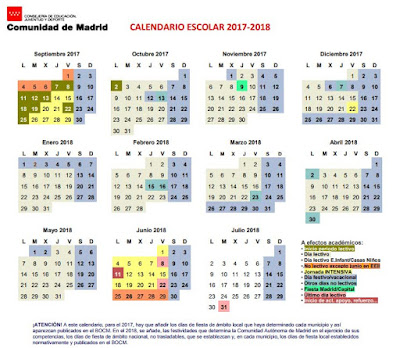 calendario escolar en Madrid curso 2017-2018