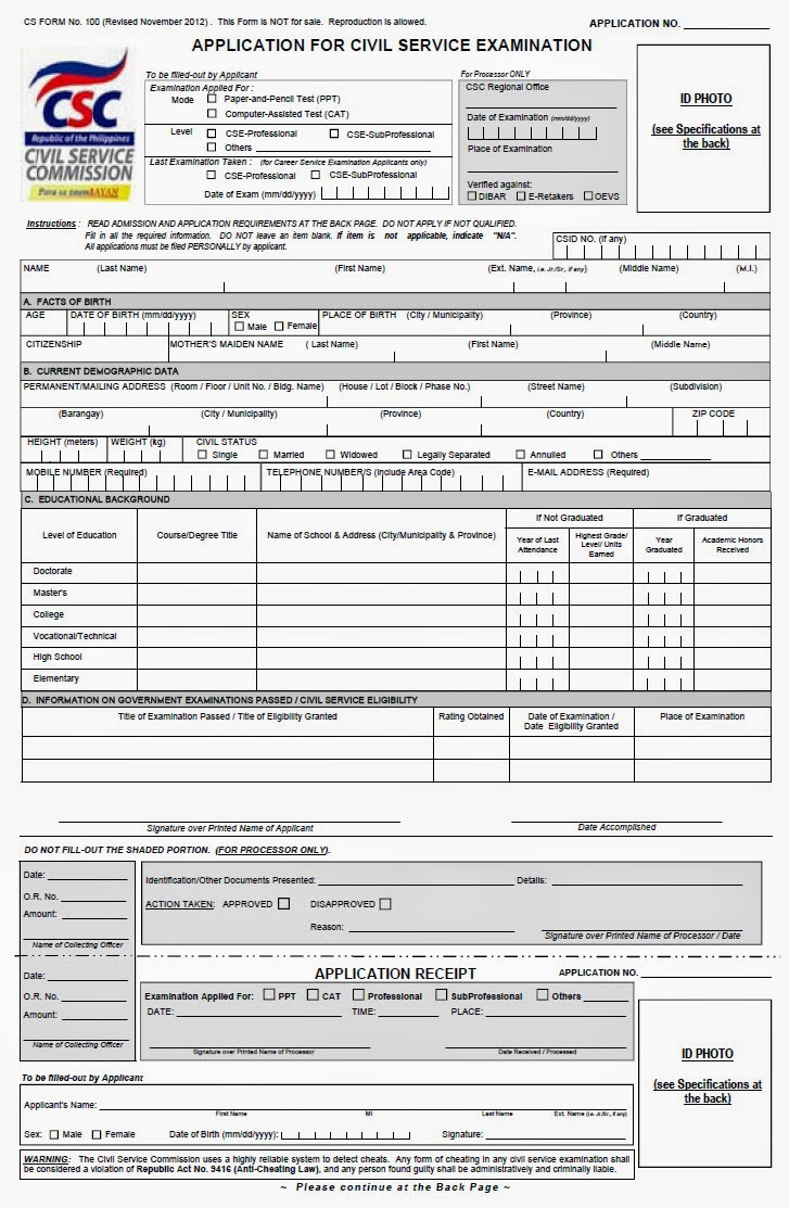 Photos of Application Form For Civil Service