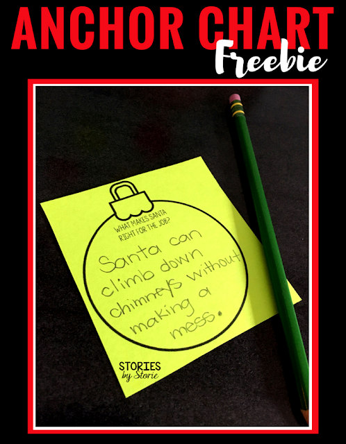 After reading How Santa Got His Job, students will record the reasons Santa is the right person for the job on these ornaments. Then they can be attached to a Christmas tree anchor chart.
