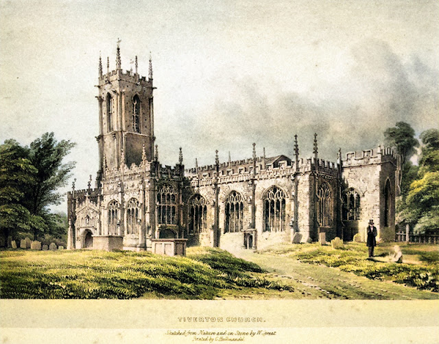 By William Spreat, part of the Spreat's Devon Churches series printed in 1842 - Colourised using DeepAI