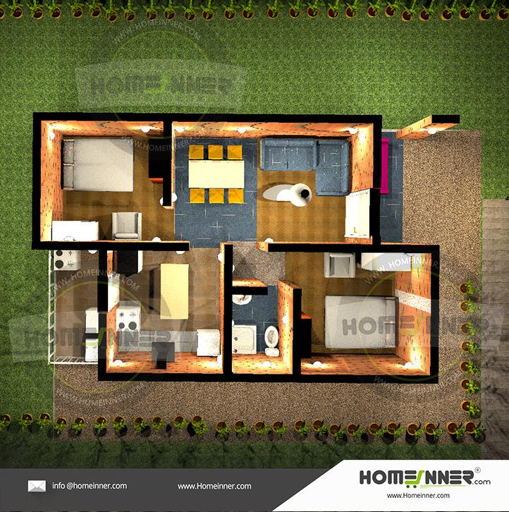 2 Bedroom 3D Floor Plans - 2BHK Interior Design Idea