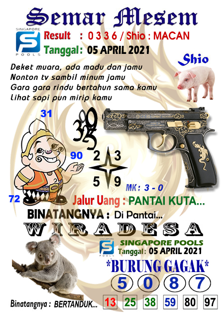 Syair Semar Mesem SGP Senin 05 April 2021