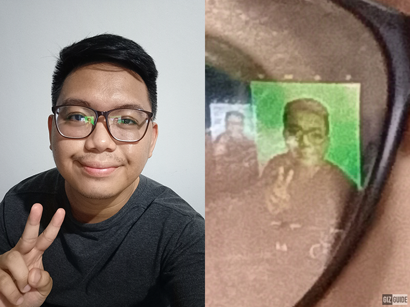 44MP selfie vs 100 percent crop