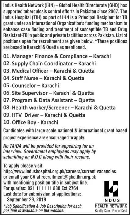 Jobs In Indus Health Network Quetta 2019