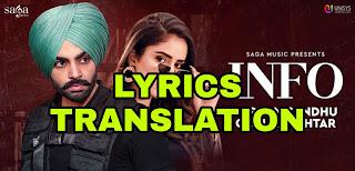 Info Lyrics | Translation | in English/Hindi  – Jordan Sandhu