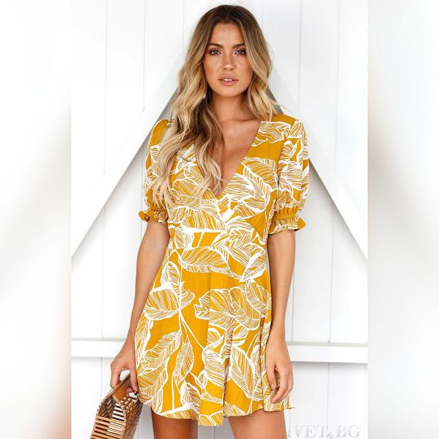 Μεσάτο κοντό κίτρινο φόρεμα VOLENA