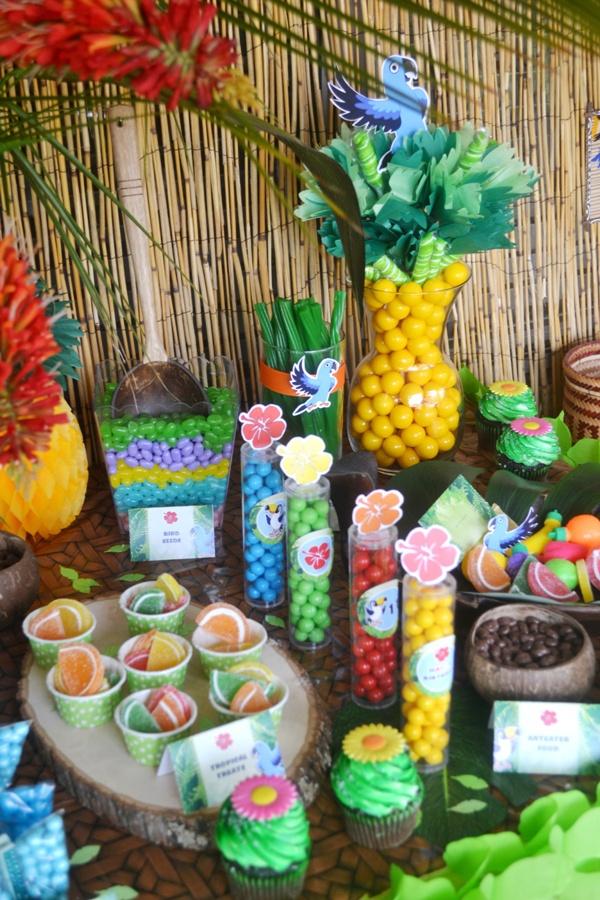 Rio Amazon Forest Jungle Inspired Party Food &nd Treats - via BirdsParty.com