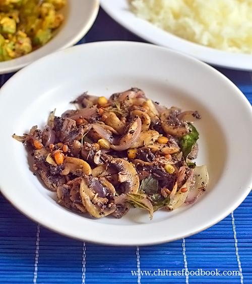 Kalan milagu varuval / Mushroom pepper fry recipe