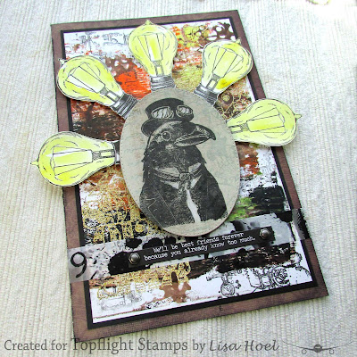 Lisa Hoel for Topflight Stamps - this week our brand focus is AALL & Create! Check out my fun steampunk card. #creativejuicefreshsqueezed #topflightstamps