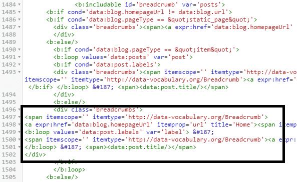 Memasang Breadcrumbs di Blogger Seo Friendly valid HTML5