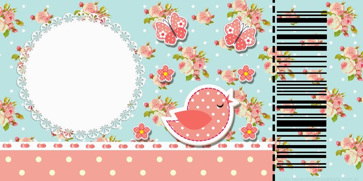 Tarjeta Ticket para Imprimir Gratis de Pájaros y Mariposas.