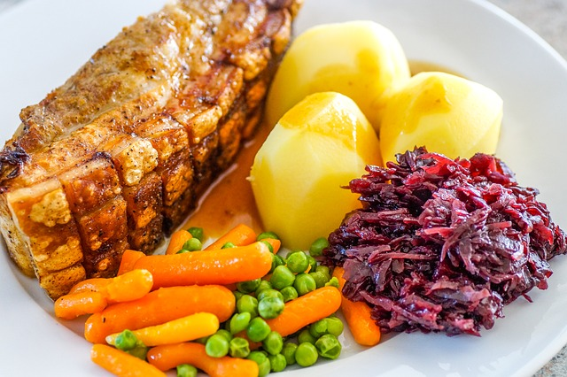 Typical Gluten-Free Meal: Roast, potatoes, cabbage, carrots, and peas