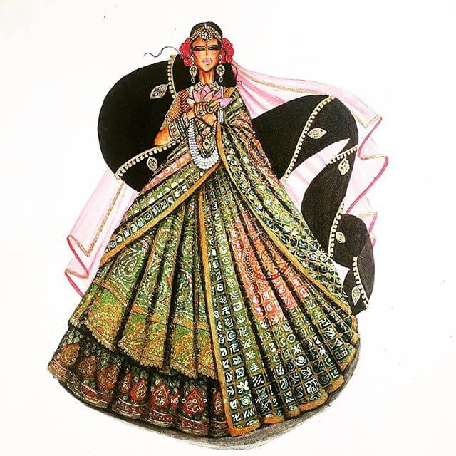 01-Indian-Dress-Drawings-Anoopbarwa-www-designstack-co