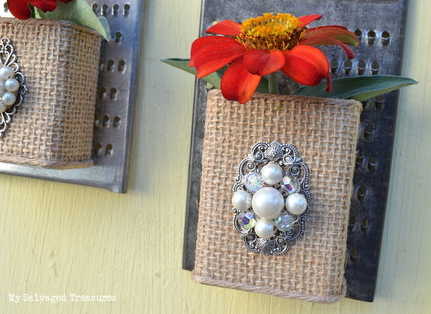 embellish a pepper can with burlap and jewels