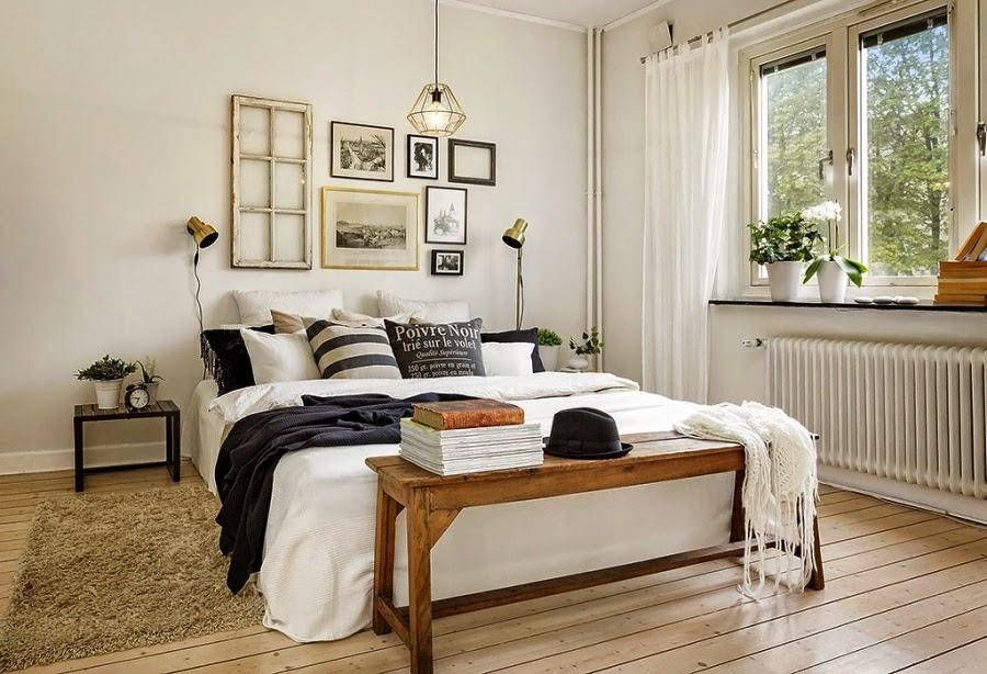 styl skandynawski, vintage, dodatki, dekoracje, ramki, drabina, skrzynka, IKEA, sypialnia