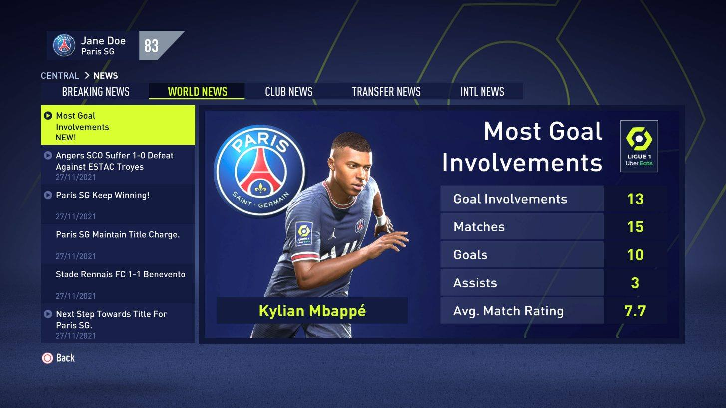 Powiadomienia w trybie kariery FIFA 22