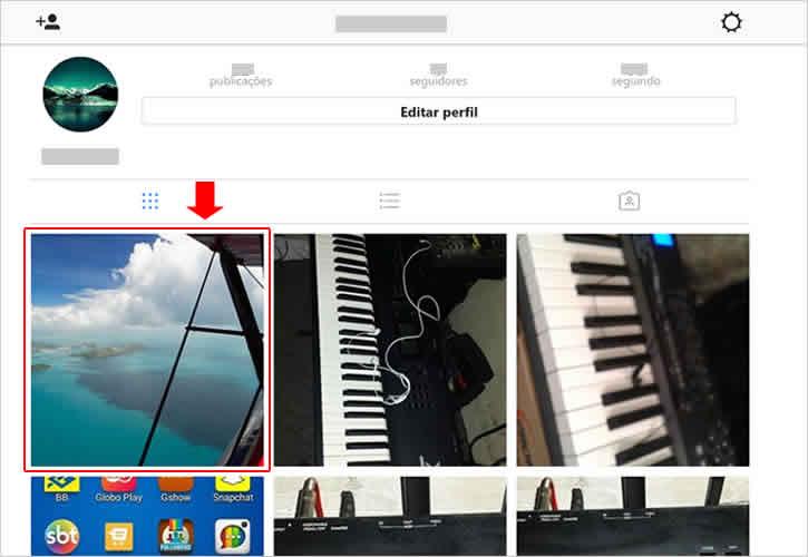 Abrindo foto no Instagram para apagar foto pelo PC