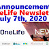 OneLife Newsletter, July 7th, 2020