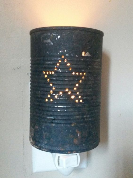 Craft booth 555 primitive night light from metal food can for Large tin can crafts