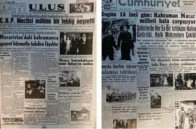 Macar devrimi Türk gazetelerinde, 1956