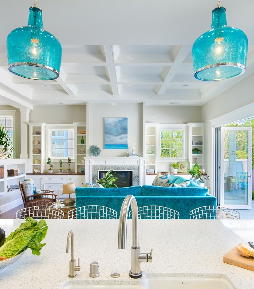 Blue Glass Pendant Lights Hanging Lamps over Kitchen Island