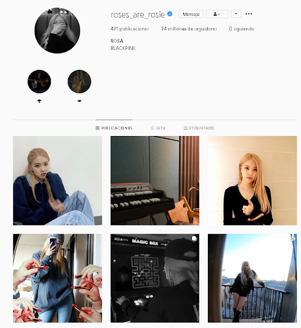 Captura del instagram de Rosé de Blackpink