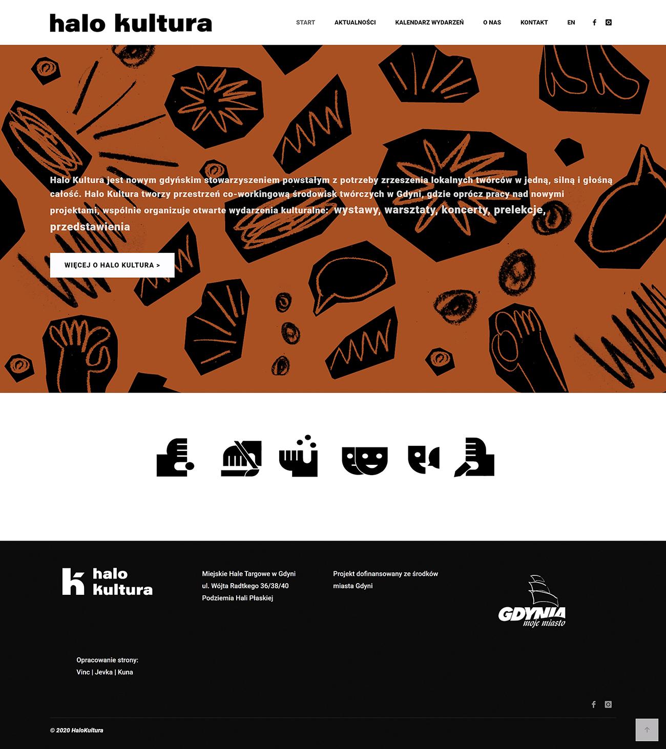 Strona internetowa dla stowarzyszenia artystów HALOKULTURA.COM