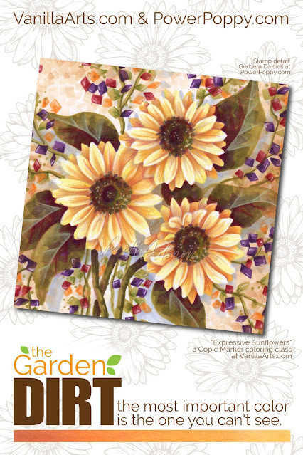 Add realism to Copic Marker blends by underpainting with complementary or opposite colors. Power Poppy's guest author Amy Shulke from VanillaArts.com offers fresh perspectives on blending combinations. Purple neutralizes vibrant Y markers, perfect for shading sunflower petals.   VanillaArts.com   copicmarker realisticcoloring underpainting