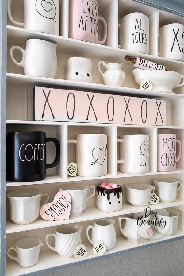 farmhouse mug display with Rae Dunn