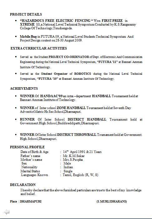 fresher mechanical engineer resume format
