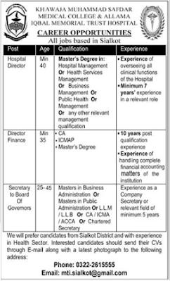 Allama Iqbal Memorial Trust Hospital Jobs 2021 in Sialkot