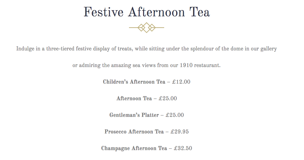 Christmas Days Out for Teens in North East England  - spanish city afternoon tea prices