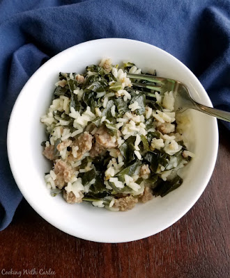 bowl of one pot collards with rice and sausage