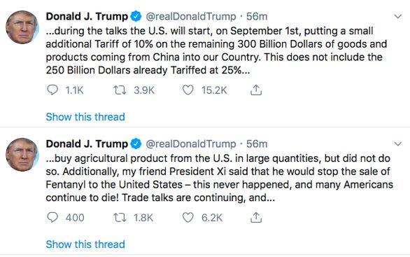 Ông Trump bất ngờ tuyên bố áp thuế 300 tỉ USD hàng Trung Quốc
