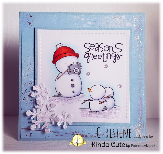 Christmas cards with snowman taking photos digital stamp