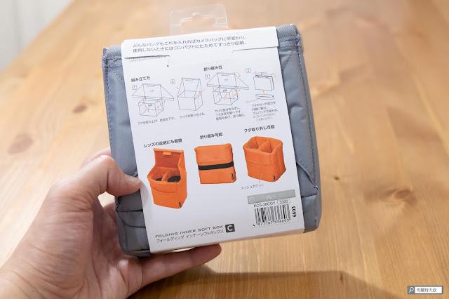 【開箱】輕巧收納好方便,HAKUBA 可折相機內袋 - 背面透過簡單的圖示來講解使用方式
