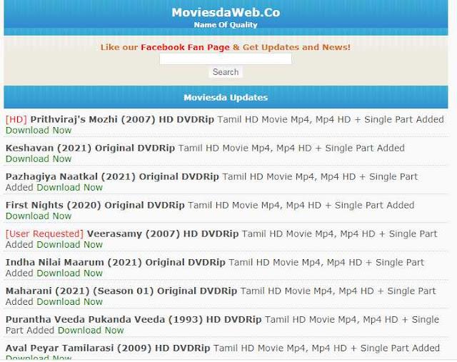 Moviesda Tamil Movie Website