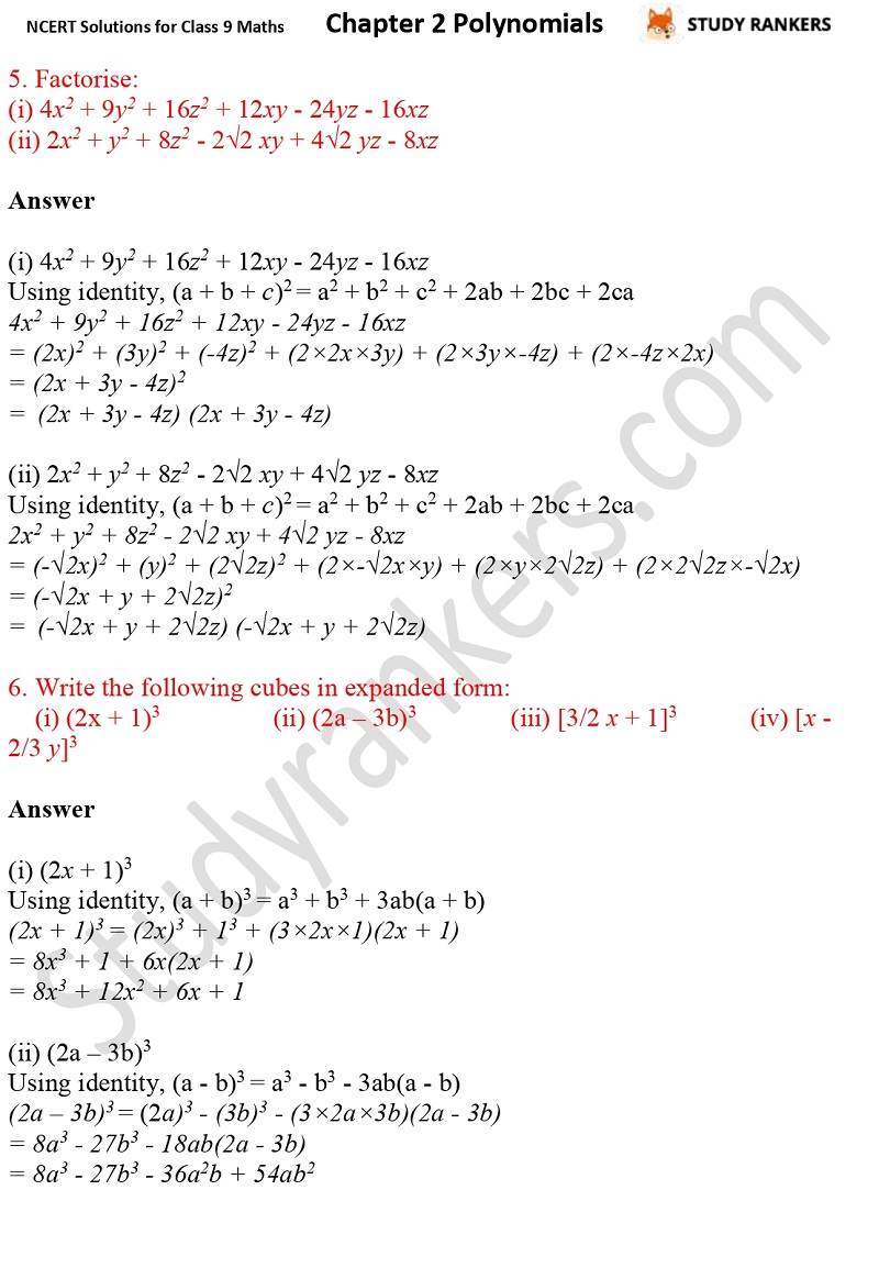 NCERT Solutions for Class 9 Maths Chapter 2 Polynomials Part 22