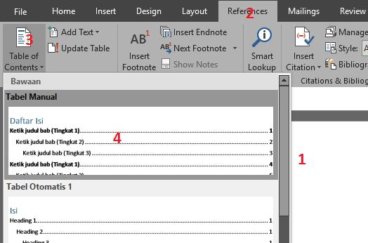 Membuat table of contents atau daftar isi otomatis di Word