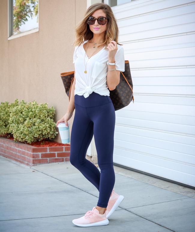 lululemon align pant II with lush clothing white tee and blush adidas