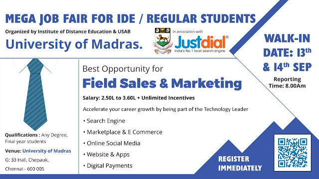Madras University Mega Job Fair 2019 on 13th & 14th September 2019
