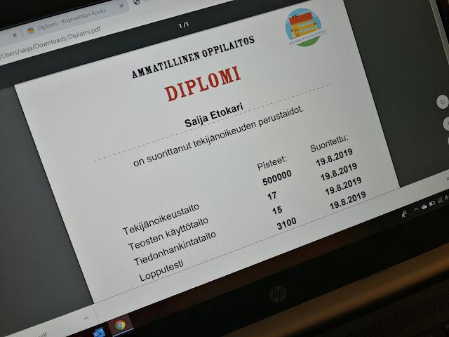Diplomi suoritettu Kopiraittilan sivustolla.